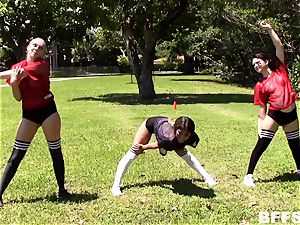 woman footballers smash for a place on the squad