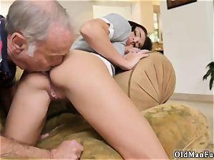 senior granddad jism shot damsel internal ejaculation railing the elder knob!