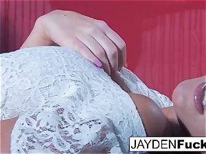 Jayden Jaymes Gets insatiable Against a crimson Wall