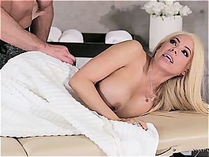 Married blonde beauty getting naughty by a beefy masseuse