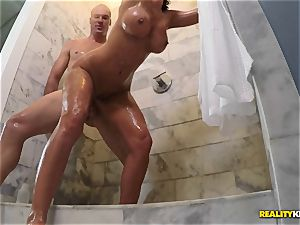 cheating wifey Lezley Zen hammered secretly in the douche by spouse and her lover