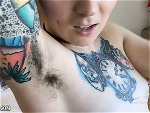 Fellicia slides her fuck stick deep into her unshaved labia