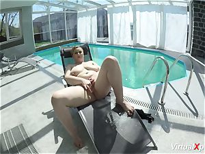 yam-sized orb cougar wanking at the pool