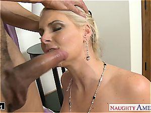 elegant Phoenix Marie takes stiffy in her hairless fuck hole