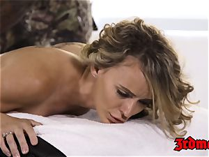 light-haired milf humped by black masseuse