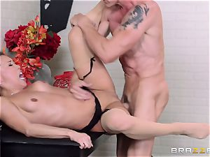 Kalina Ryu penetrated by her chief as she talks to her boyfriend
