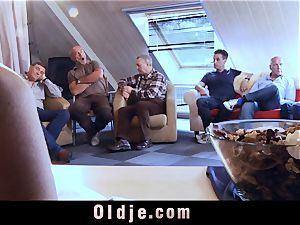 6 oldman banging in group a spectacular red-hot light-haired