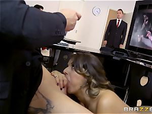 Workmates watch as Cara Saint-Germain penetrates in the office