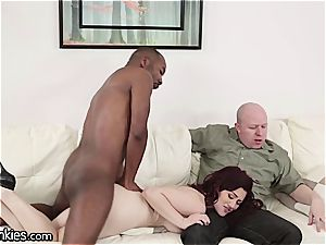 stiffy depraved Jessica cuckolds her spouse with a big black cock